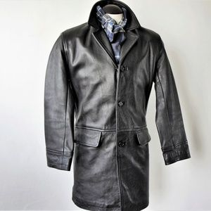 Ciro Citterio Black Leather Trench/ Size 42 US